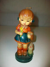 Vintage Figural Wax Candle Little Girl w/ Flowers Basket & Bunny Rabbit