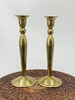 """2 Vintage Round Brass Candlesticks Candle Holders 8.5"""""""