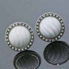David Yurman Sterling Silver Diamond 13mm White Agate Midnight Melange Earrings