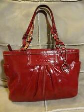 COACH Gallery Tote ~ Candy Apple RED Pleated Patent Leather Tote Bag  #13761