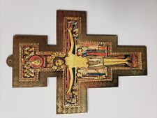 "San Damiano Crucifix Wall Hanging Decoration Gold Jesus Cross Christian 10"" New"