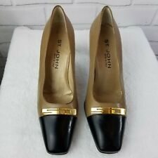 St John Italy Leather Cap Toe Tan Black Pumps Heels Gold Accent Womens Size 8 B