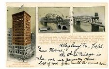 Pittsburgh PA -BANK BUILDING & BRIDGES- Calendar Advertising Postcard