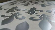 FLEUR DE LYS Wall Decals Silver x 30 FLEUR DE LIS Tile Stickers Home Waterproof