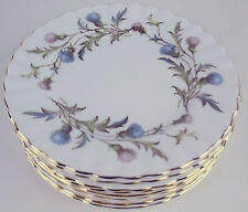 "8 x Bread Side Plates 6 1/4"" Royal Albert Brigadoon vintage bone china Thistles"