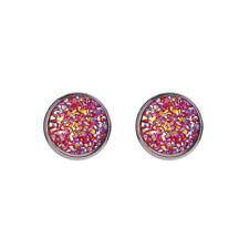 Fashion Women Druzy Earrings Natural Stone Quartz Silver Plated Small Ear Stud