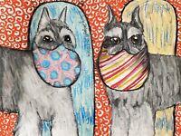 Miniature Schnauzer 13 x 19 Dog Pop Art Print Collectible Signed by Artist KSams