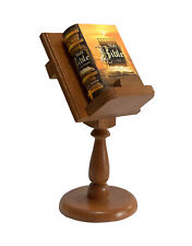 Miniature Bible King James Full Version w/ wood stand hardbound book collectible