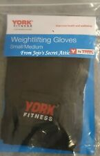 1 Pair York Fitness Black Weightlifting Gloves Small/Medium Size New