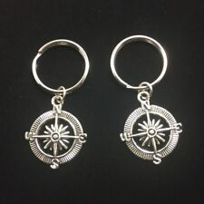 2 Compass Rose Keychain Ship Wheel Nautical Travel Geocacher Jewelry Best Friend