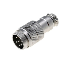 MIC346 Plug microphone male PIN6 for cable straight 'UK COMPANY SINCE1983 NIKKO'