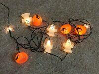 Vintage Halloween JOL Pumpkin and Ghost Blow Mold String Light Set 10 Lights