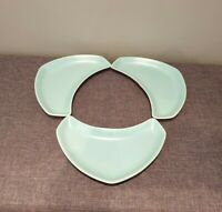 Poole Pottery Twintone Ice Green & White Crescent Shaped Side Plates (Set of 3)
