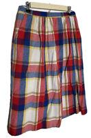 Vintage Eccobay Pleated Wool Blend Midi Skirt Red Blue Plaid Pockets 26 In Waist