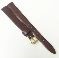 Speidel Genuine Leather Brown Tone 10mm Gold Buckle Watch Band