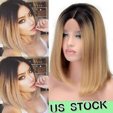 Black To Blond Ombre Lace Front Wig Short Bob Straight Synthetic Wigs For Women