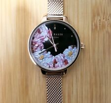 TED BAKER KATE WATCH WITH 36MM BLACK FLORAL FACE & ROSEGOLD MESH BRECLET