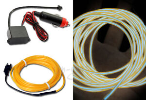 Universal Yellow Electroluminescent EL Wire Glow Rope + Cigarette Plug Adapter