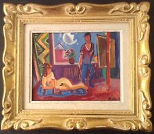 Viktor VASSINE (1919 -1997) Russe Cubisme Nu dans l'Atelier Crimée Huile signée