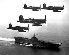 New 11x14 Korean War Conflict Photo: F4U Corsairs Circle USS BOXER Post Mission