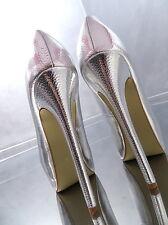 NEU LACK SILBER HOHE Pumps Plateau VIP Damen O39 Schuhe Sexy Stiletto High Heels