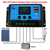 LCD 20A AMP 12V/24V Solar Panel Auto Battery Charge Controller for Lamp Lighting