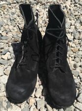 NWOB Hand Made Demon  THE RIFF black suede distressed boots shoes sz 43 USA 9