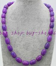 """Natural Pretty 10x14mm Cylinder Purple Sugilite Gemstone Necklace 18"""""""