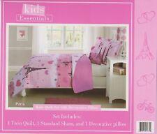 3 Pcs Twin size Kids Boys & Girls Bed set, Quilt+Sham+Decorative Pillow - PARIS