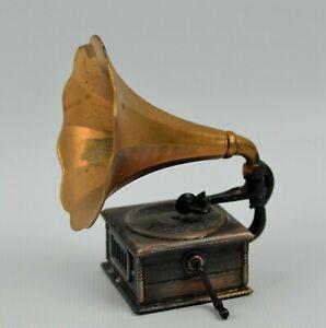 """Vtg Miniature Metal Victrola Phonograph Pencil Sharpener Gold Horn 2.75"""""""