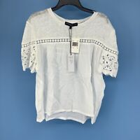 Generation Love Fran Gauze Top Linen Blouse NEW Size Small White Lace 0236