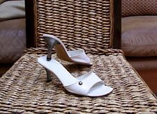 Chanel CC Button White Leather Slide Sandals Quilted Heels Size 37 / 6.5 - 7