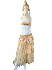 Authentic Mid Century Hawaiian Hula Costume  3 Piece Skirt Hat Bra Grass & Shell
