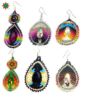 Native Style Beaded Teardrop Seed Bead Earrings Fashion Jewelry Ethnic Design