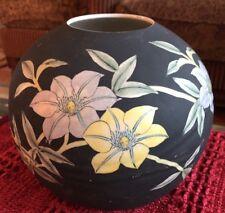 "Kutani Satsuma Toyo Japanese Porcelain, 8"" Ball Vase stamped Black Matte Unique"