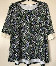 Woman Within Plus Size 18/20 Floral Knit Top 3/4 Sleeves Lace Blouse New