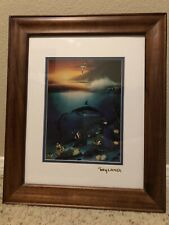 Wyland 1990 Framed Double Matted Sunset Dolphin Bird and Fish Print Hawaiian