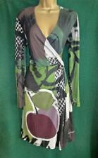 DESIGUAL UK 14 Large Green Grey Stretch Jersey Long Sleeve Day-Eve Dress 56V20R2
