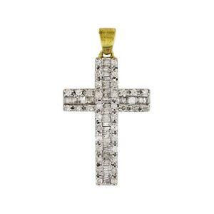1/2 ct Round & Baguette Natural Diamond 10K Yellow Gold Cross Pendant -IGI-