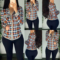 Women Check Plaid Shirt Buttons Ladies Long Sleeve Casual Tunic Tops Tee Blouse
