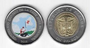 PANAMA - NEW ISSUE COLORED BIMETAL 1 BALBOA UNC COIN 2018 YEAR RED CROSS