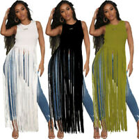 Fashion Women's Solid Color Sleeveless Tassels Summer Casual Long Tops T-Shirt