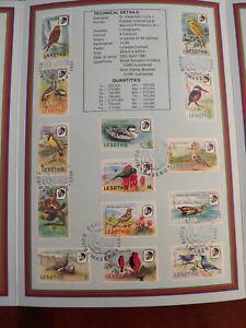 lesotho stamps OFFICIAL SOUVENIR FOLDER BIRDS 1981