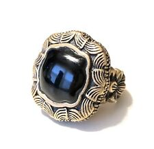 Signed BARSE THAILAND Estate ONYX Floral Bronze RING SIZE 8