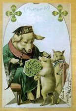 Antique New Year Postcard c1905 Dressed Pig Smoking Pipe PIGS Fantasy FEZ