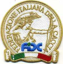 Toppa ricamata patch termoadesiva FIDC Federazione Italiana Della Caccia in oro