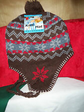 EAR FLAP INSULATED FLEECE LINED KNIT HAT ~ADULT~ RED/GRAY/BRWN NORDIC DESIGN NEW