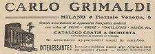 Z1351 Apparecchi fotografici Carlo GRIMALDI - Pubblicità d'epoca - 1909 Old ad