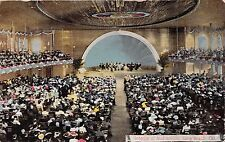 LONG BEACH CALIFORNIA INTERIOR OF AUDITORIUM~SYMPHONY~SEATED CROWD POSTCARD 1913