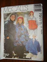 Pullover Jacket top McCALLS 7311 XL XXL UC FF Mens Womens Sewing pattern